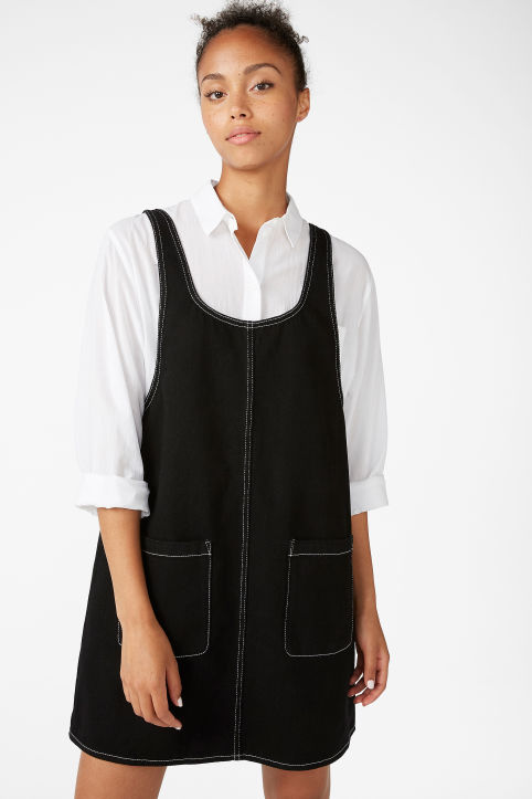 Contrast stitch pinafore dress