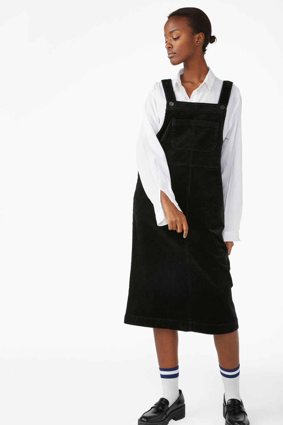 Model front image of Monki corduroy dress  in black