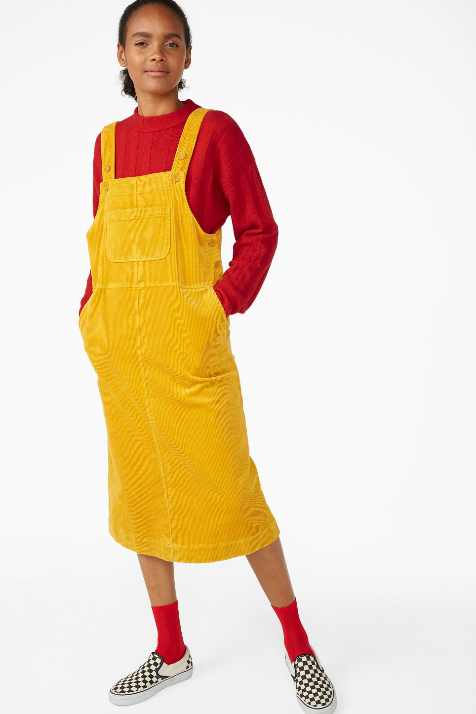 Model front image of Monki courdoury dress  in yellow