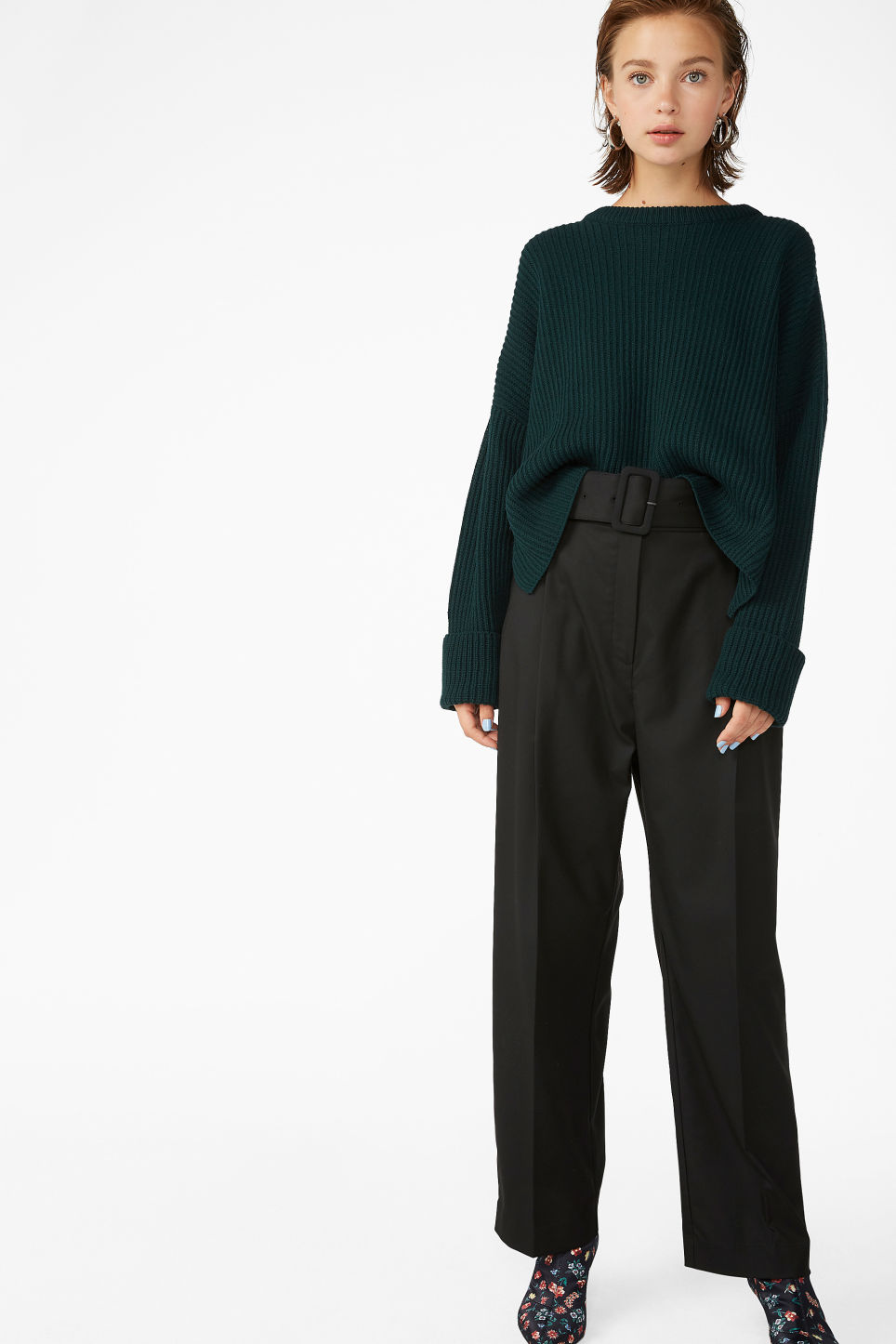 Model front image of Monki belted dressy trousers in black