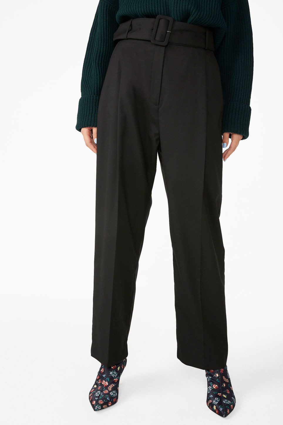 Model side image of Monki belted dressy trousers in black