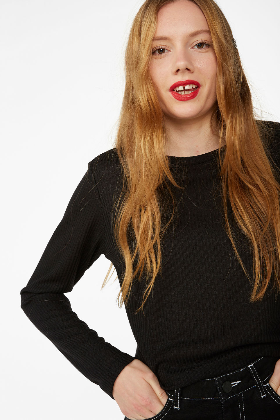 Model front image of Monki long-sleeved ribbed top in black