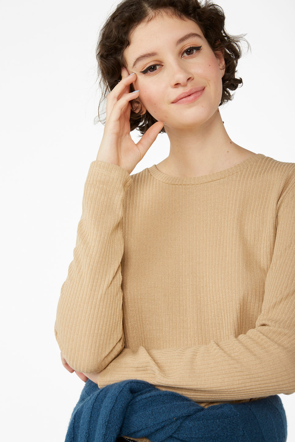 Model front image of Monki long-sleeved ribbed top in beige