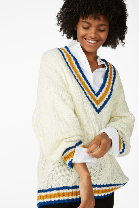 Knitted contrast sweater