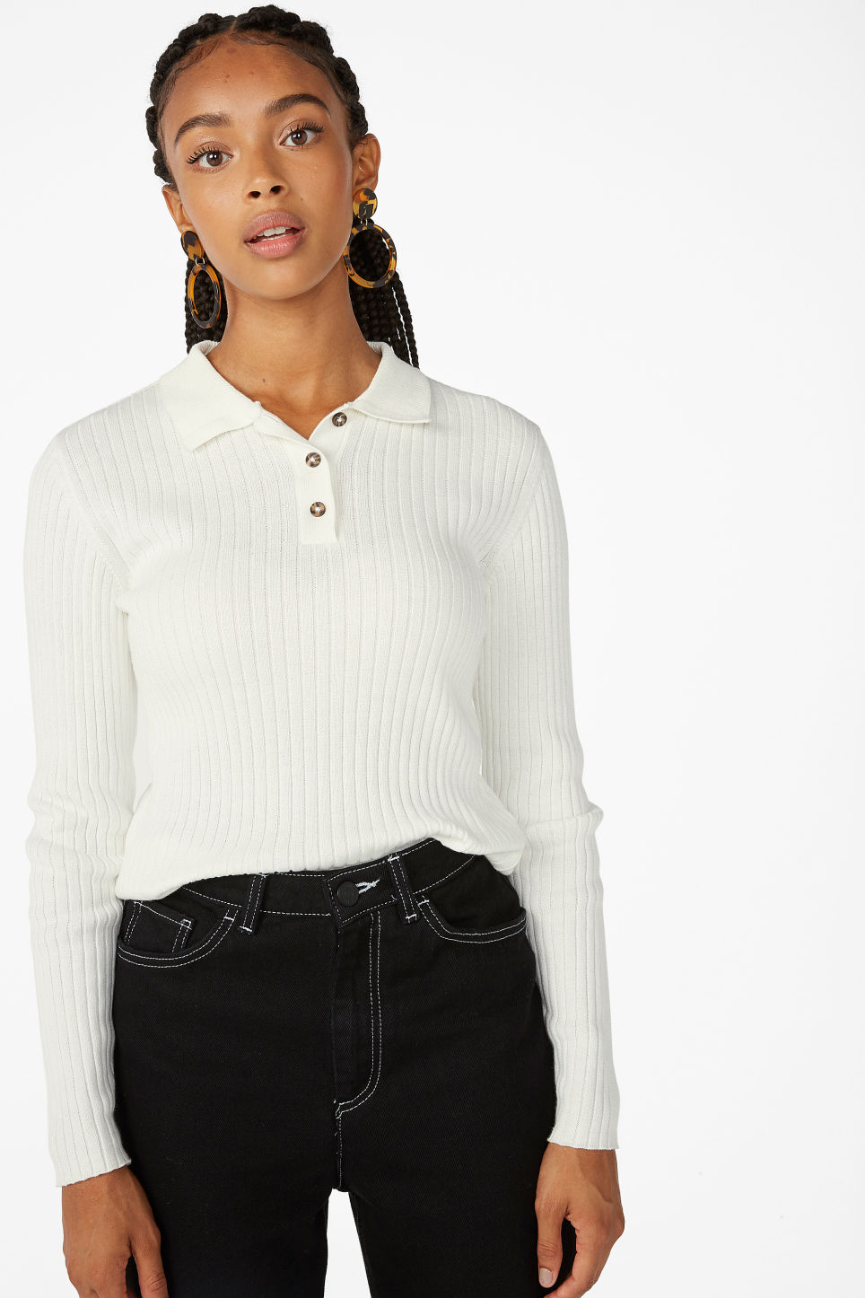 Model front image of Monki ribbed polo top in white
