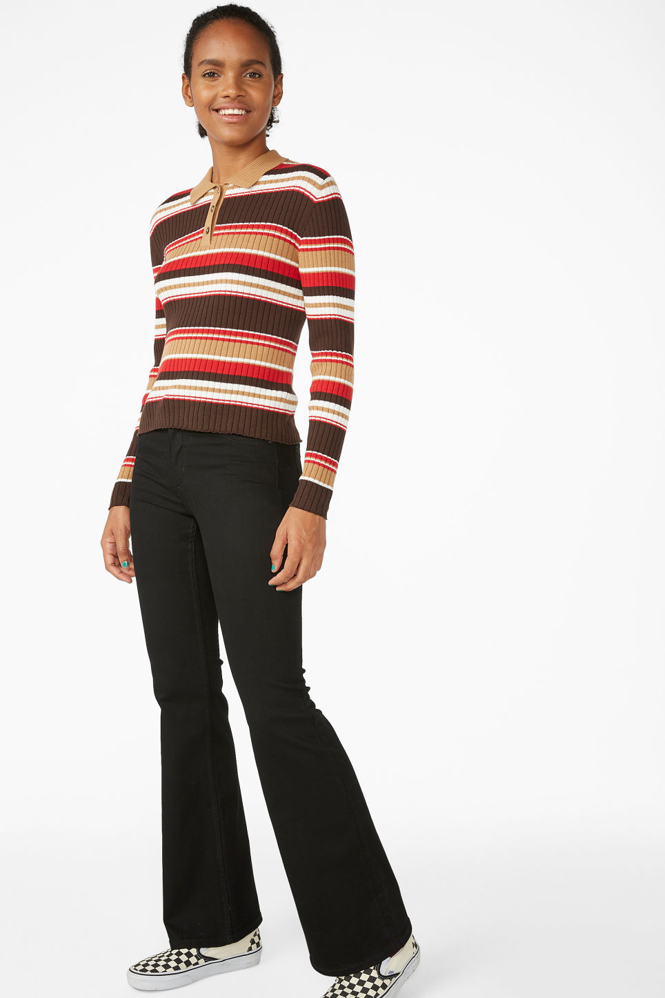 Model front image of Monki ribbed polo top in brown