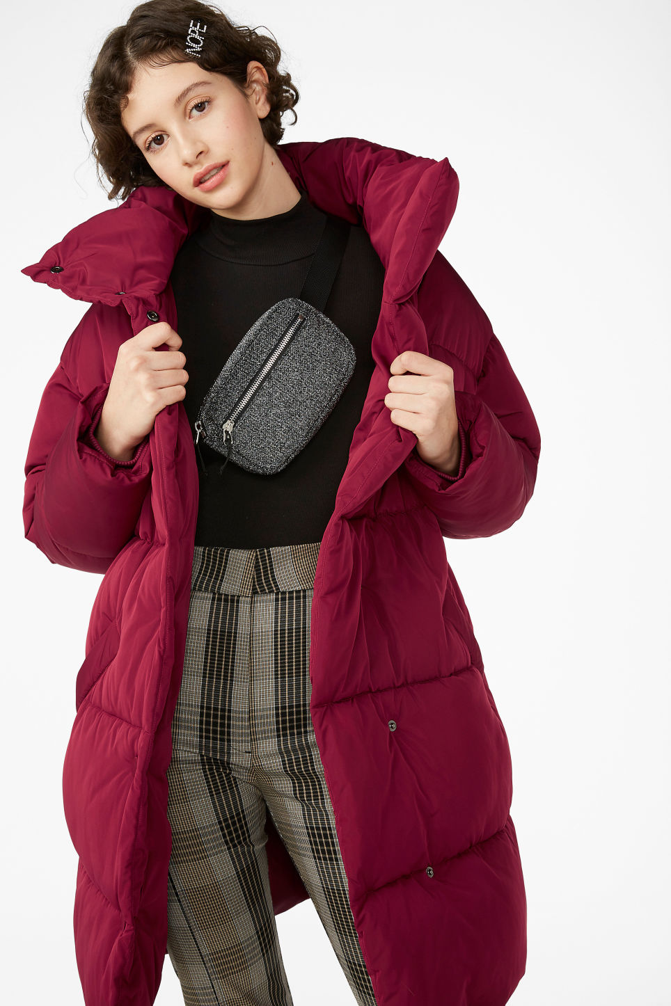 Model front image of Monki long puffer coat in red