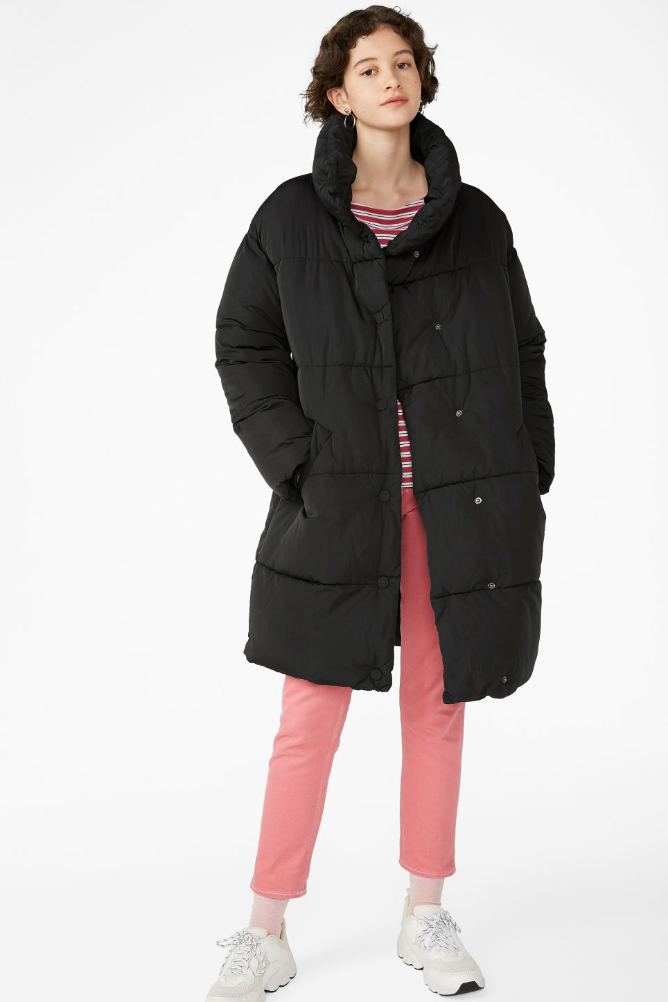 Model front image of Monki long puffer coat in black