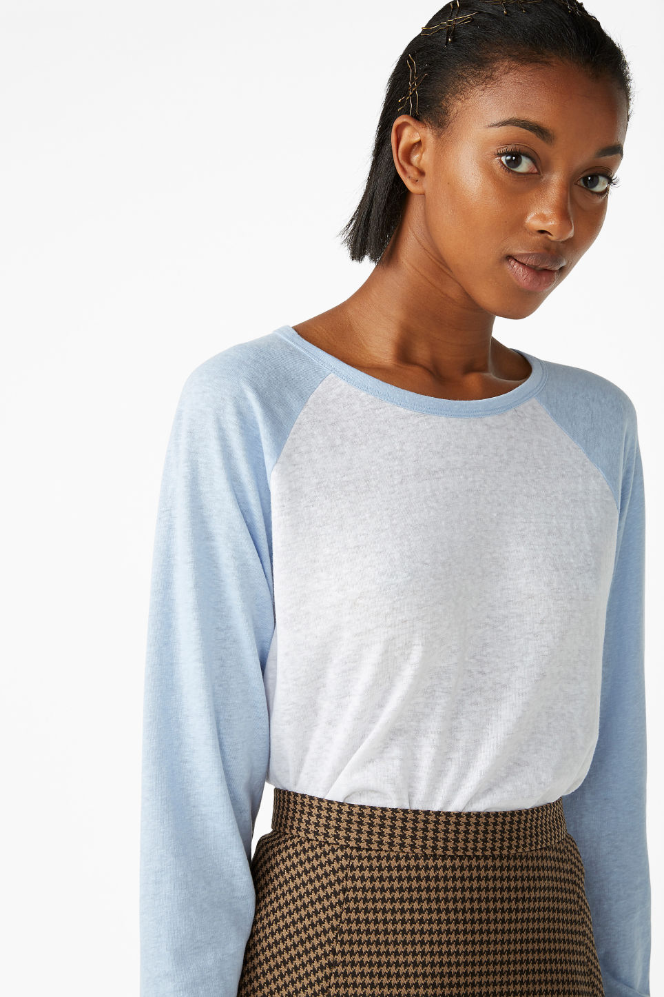 Model front image of Monki long-sleeved sporty top  in blue