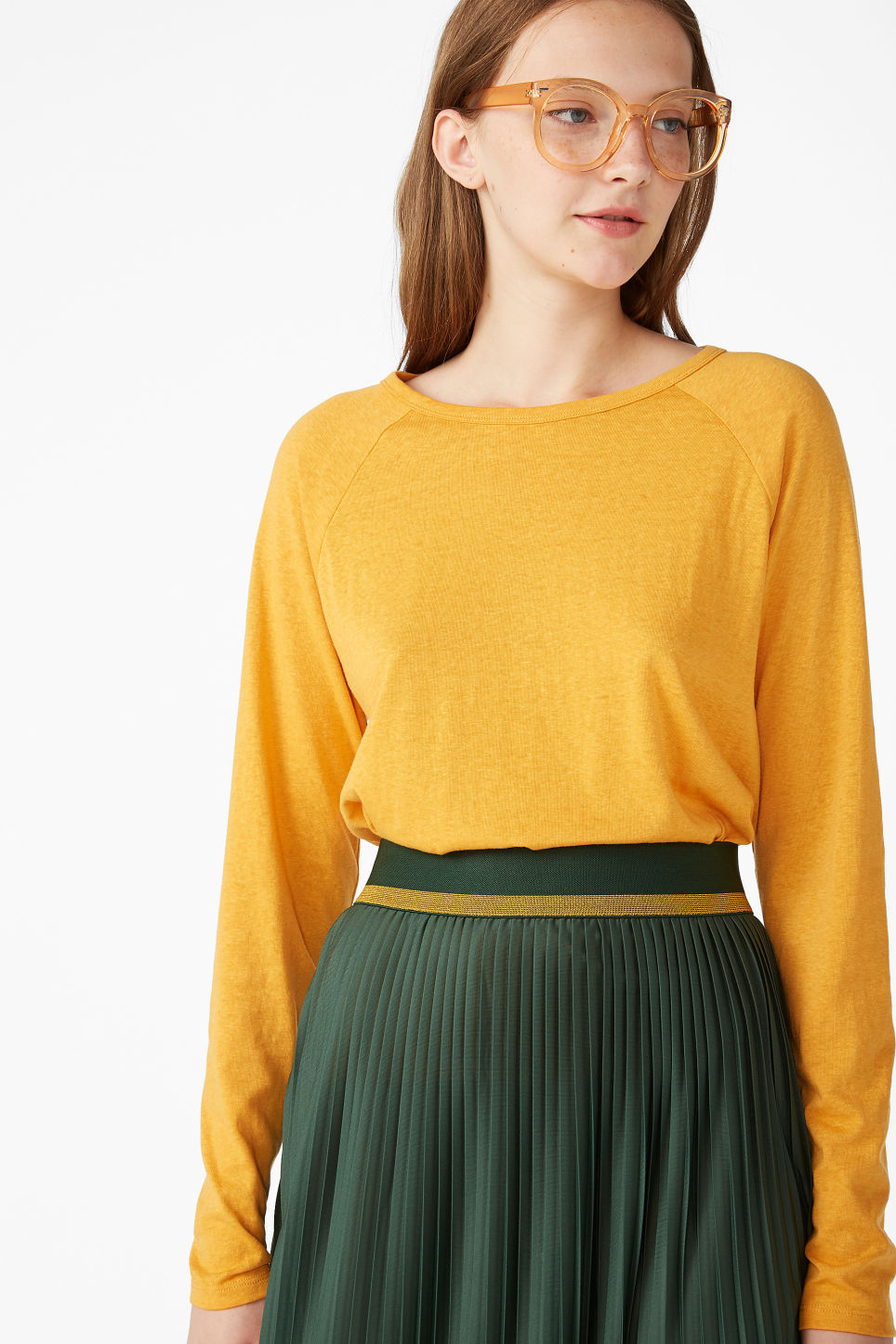 Model front image of Monki long-sleeved sporty top  in yellow