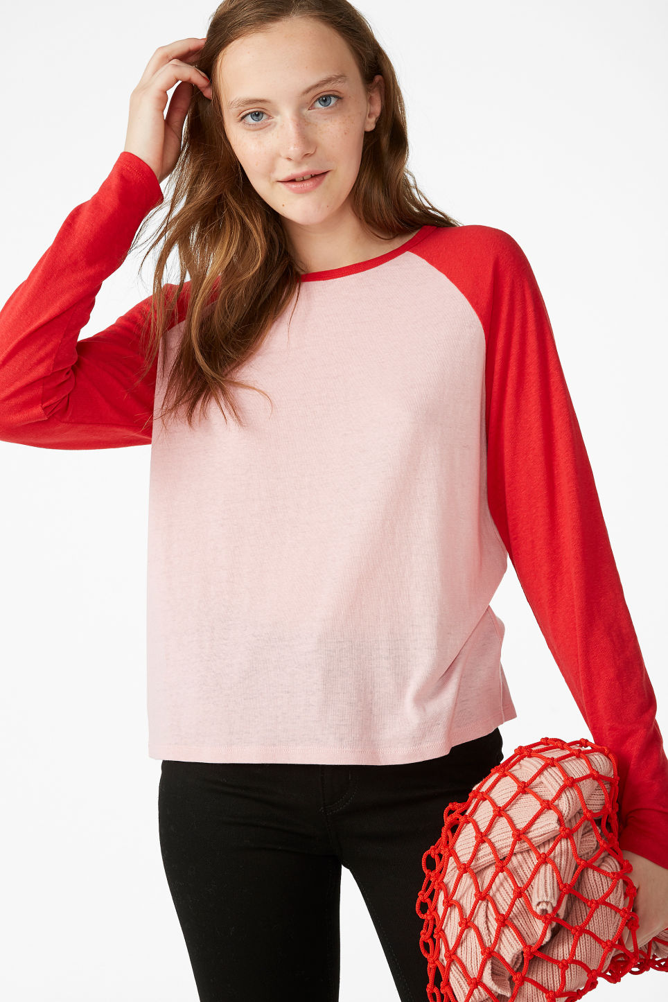 Model front image of Monki long-sleeved sporty top  in pink