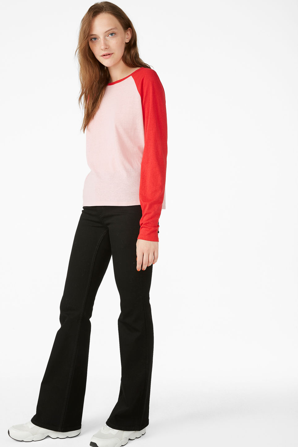 Model side image of Monki long-sleeved sporty top  in pink