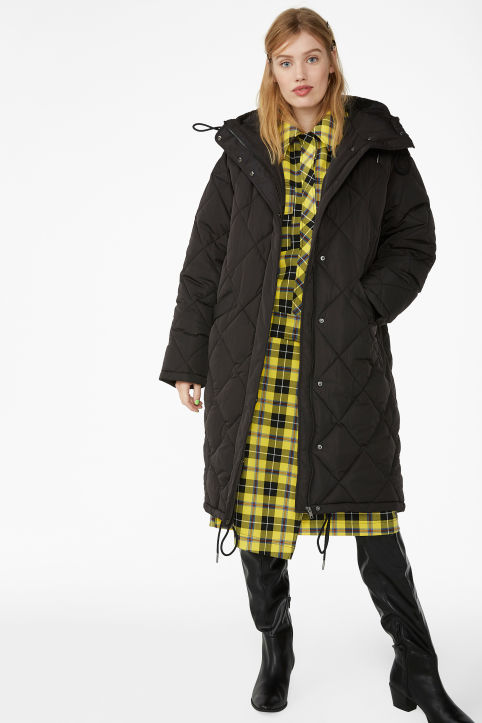 Padded quilted long coat
