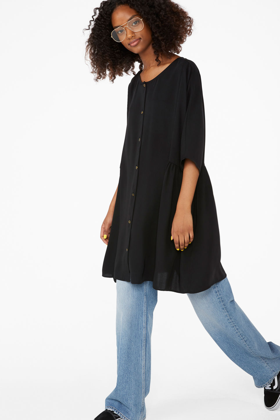 Model front image of Monki buttoned dress in black