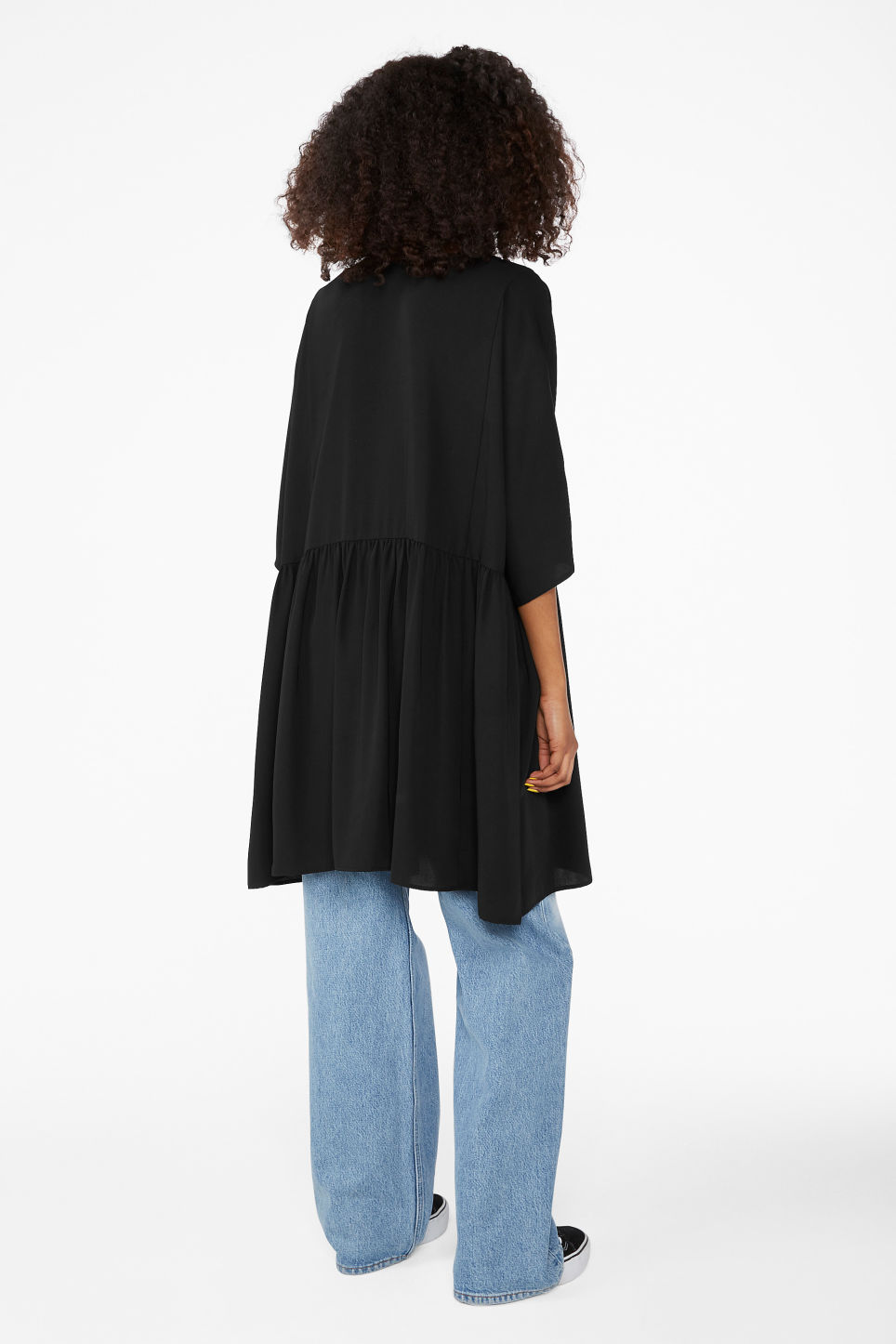 Model back image of Monki buttoned dress in black