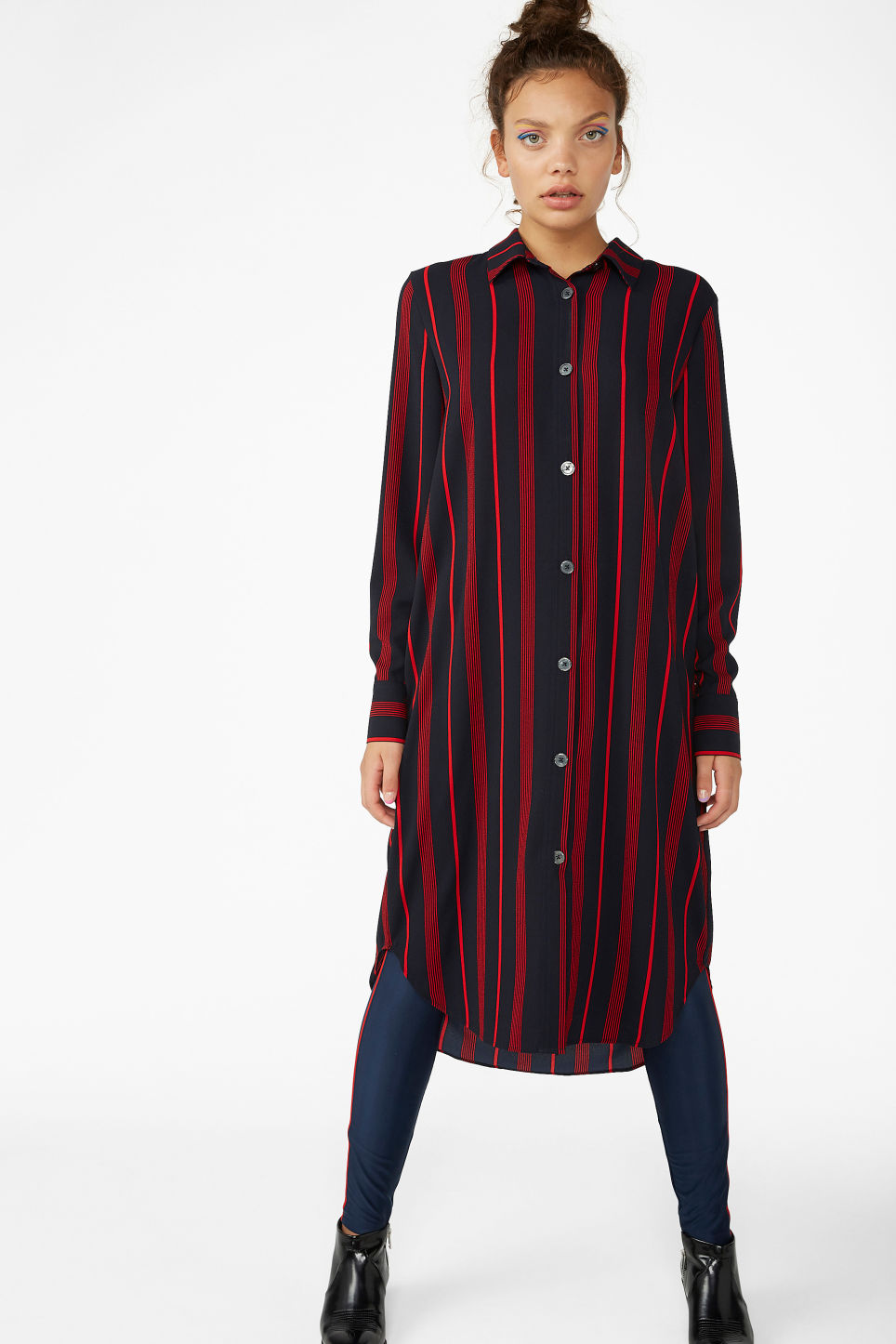 Model front image of Monki long-sleeved shirt dress in blue