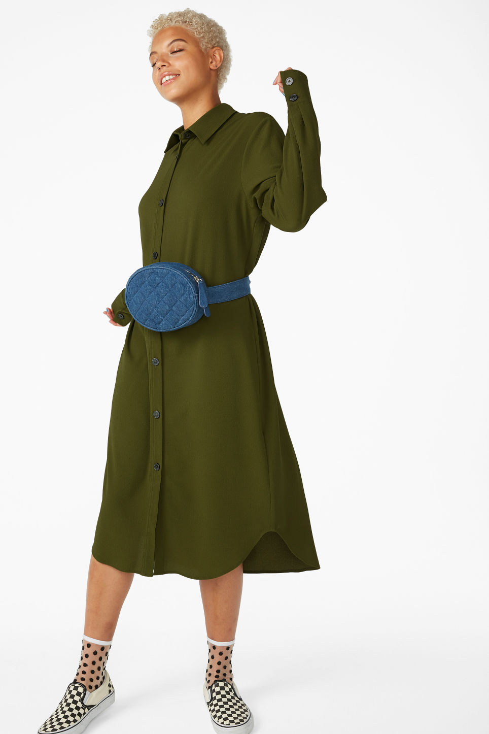 Model front image of Monki long-sleeved shirt dress in green
