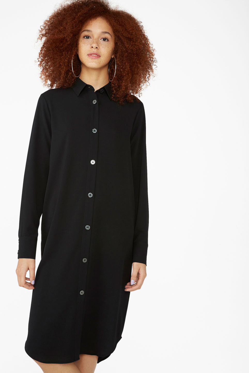 Model front image of Monki long-sleeved shirt dress in black