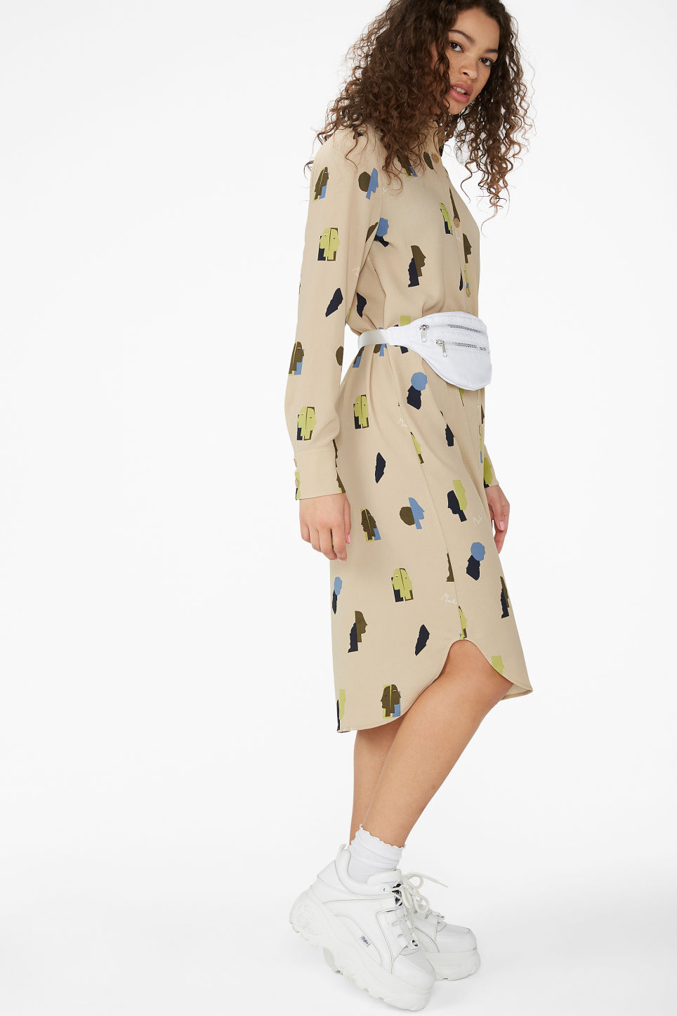 Model front image of Monki long button-up shirt dress in beige