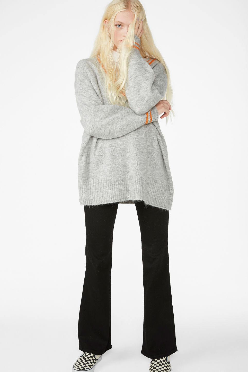 Model side image of Monki super-soft v-neck top in grey