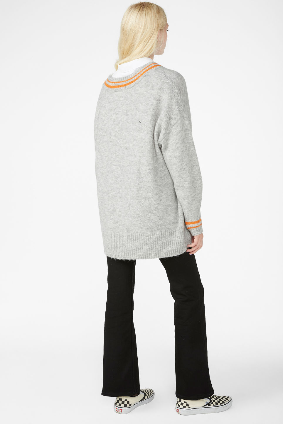 Model back image of Monki super-soft v-neck top in grey