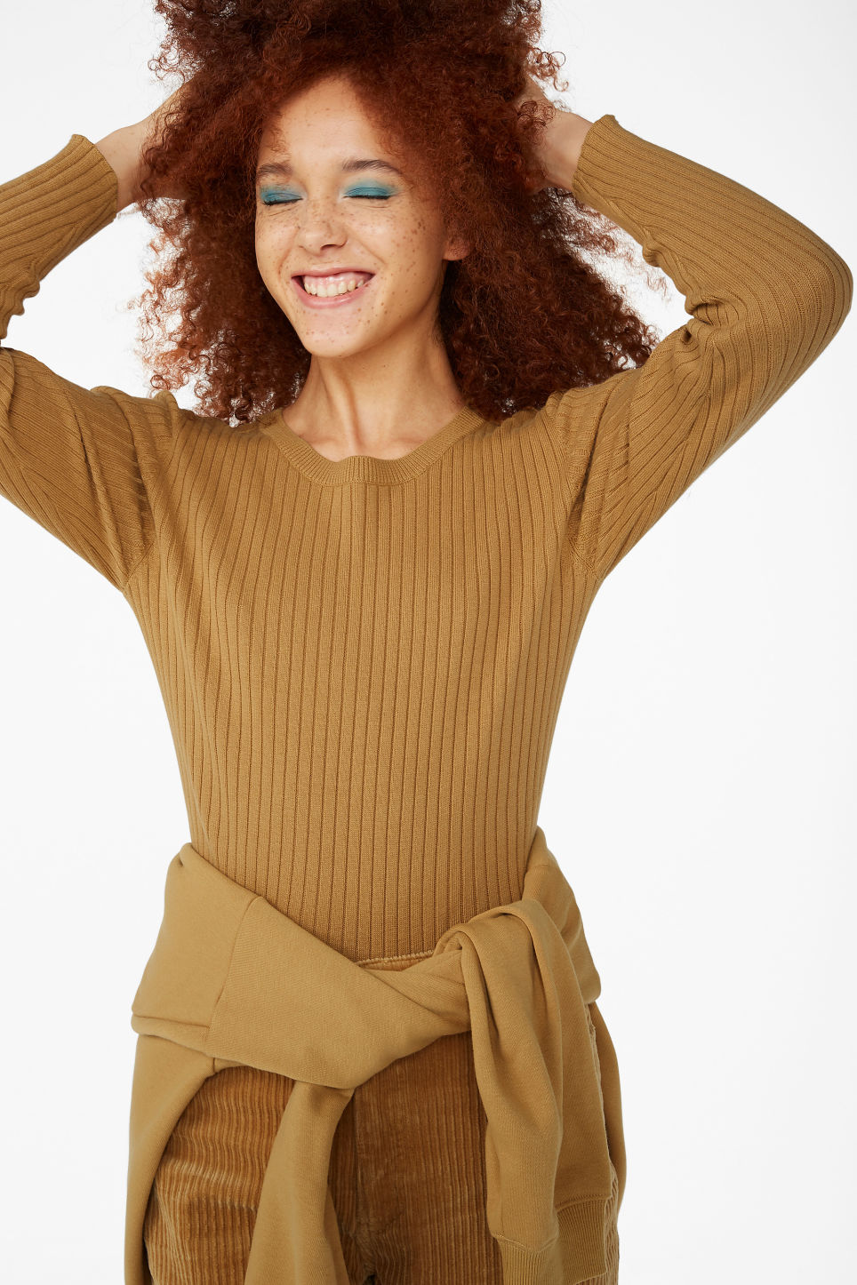 Model front image of Monki long-sleeved top in yellow