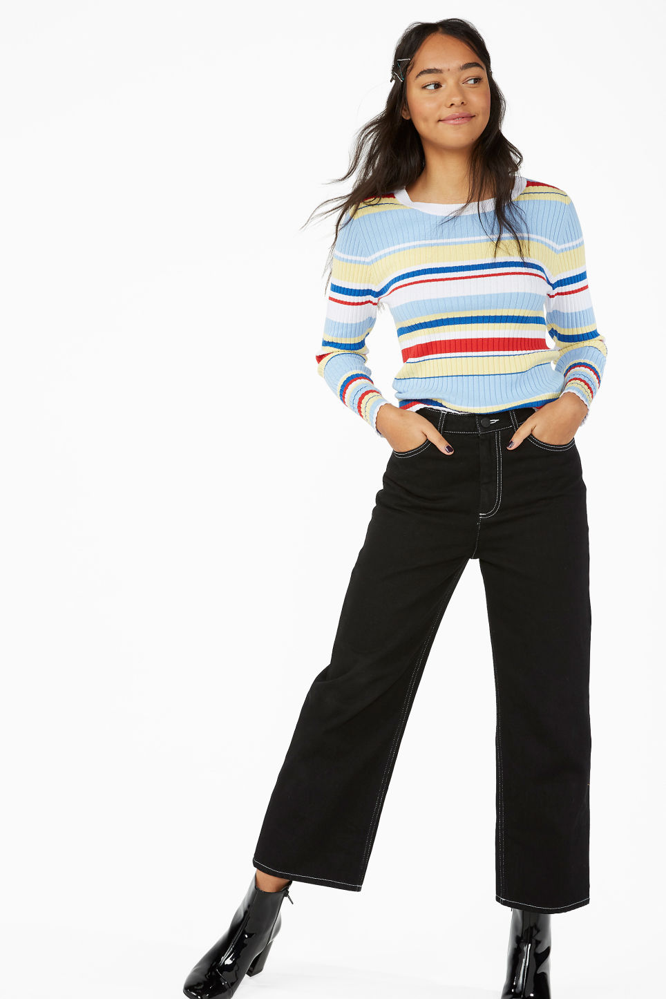 Model side image of Monki long-sleeved top in blue