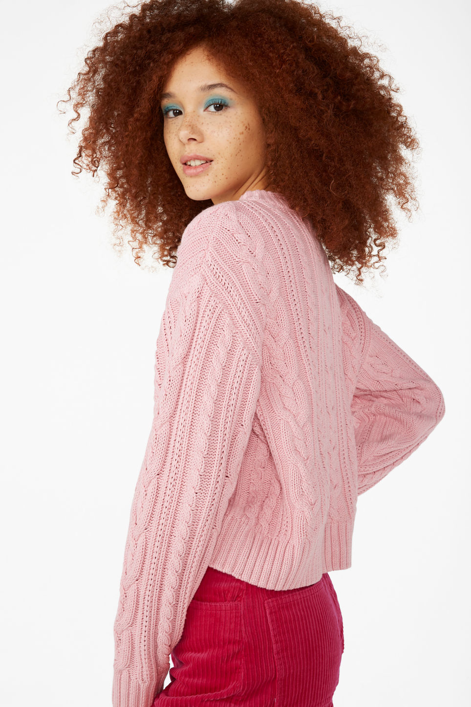 Model front image of Monki knitted top in pink