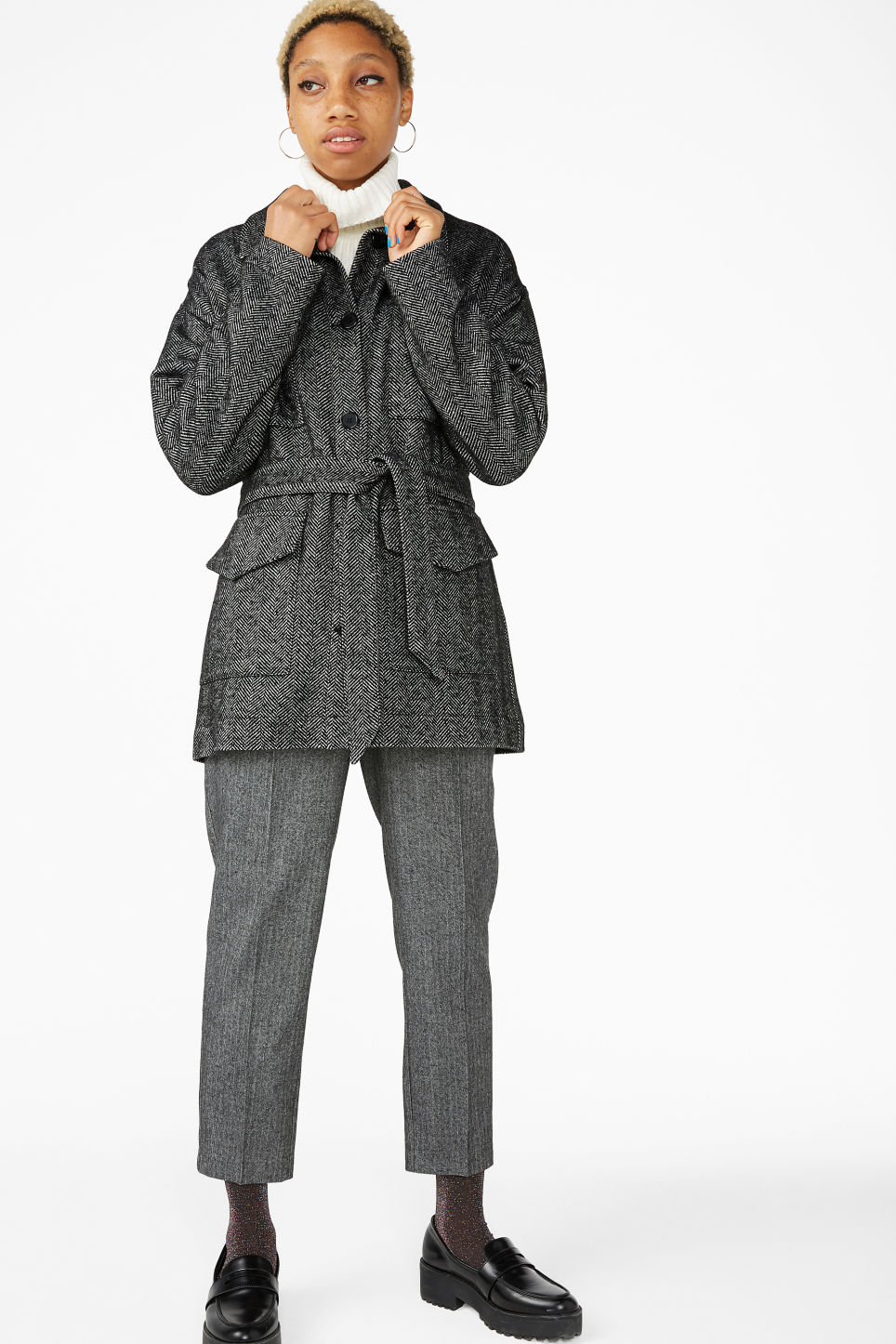 Model front image of Monki belted coat in black