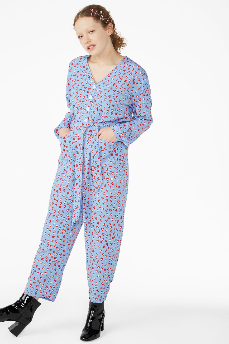 Model front image of Monki flowy jumpsuit in blue