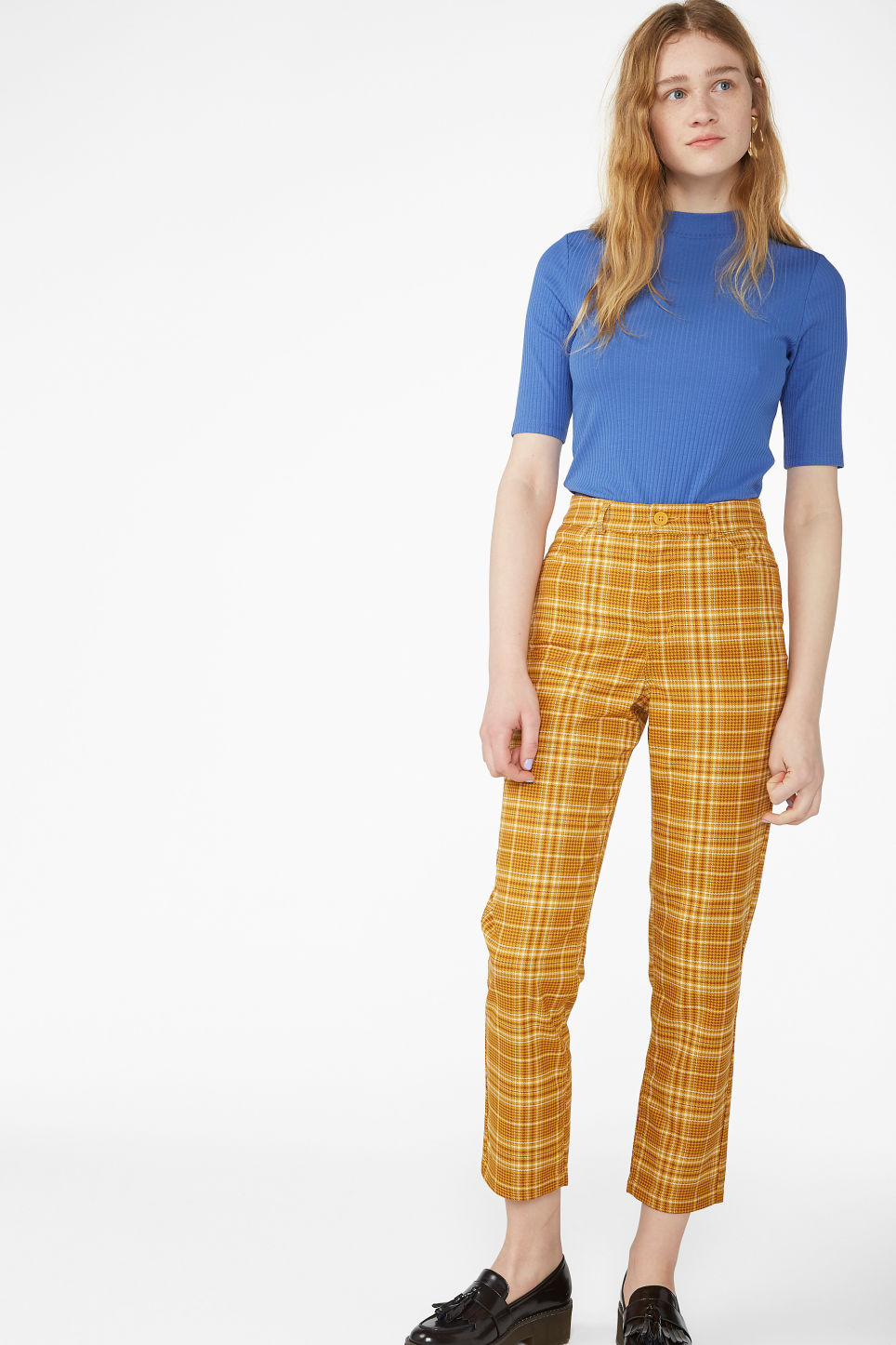 Model front image of Monki dressy trousers in yellow