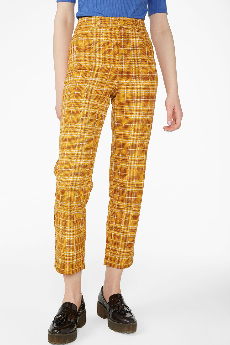Model side image of Monki dressy trousers in yellow