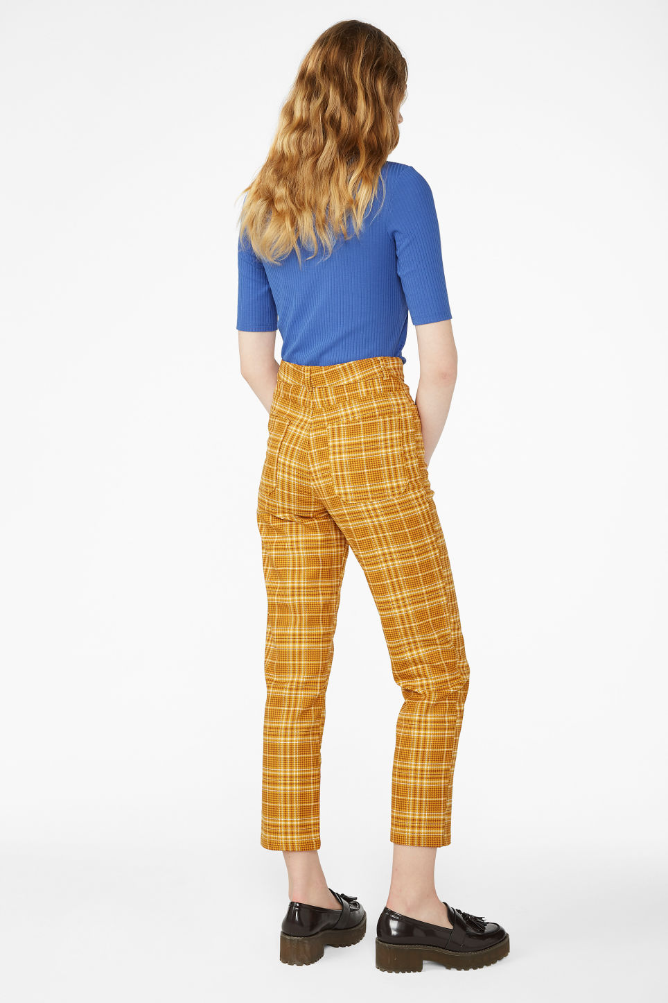 Model back image of Monki dressy trousers in yellow