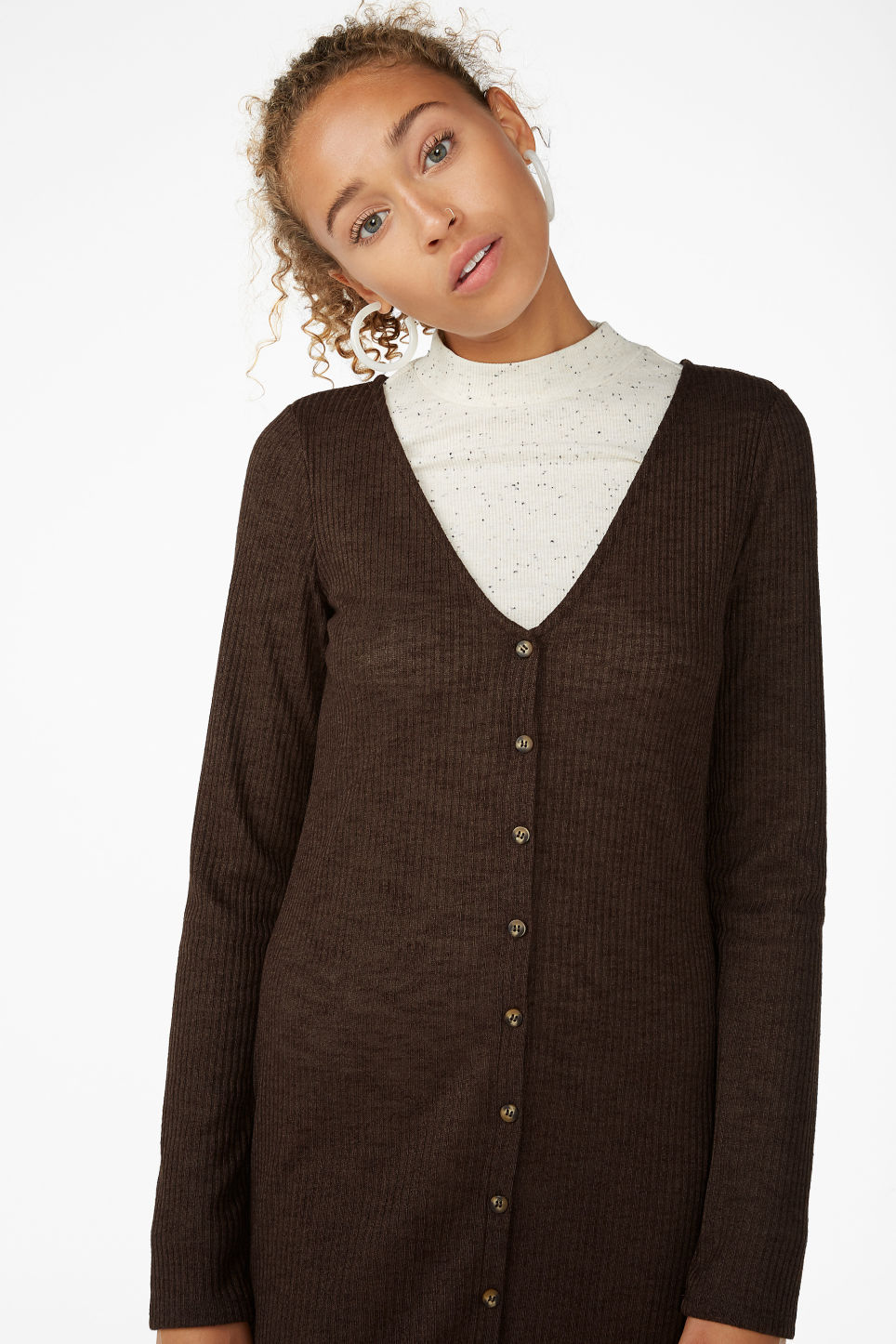 Model front image of Monki button up long- sleeved dress in brown