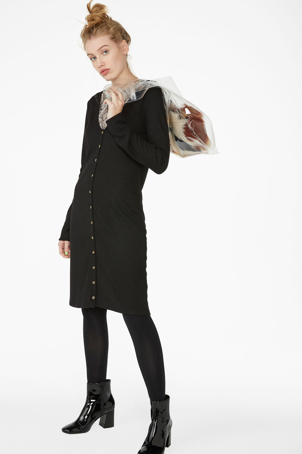 Model front image of Monki button up long- sleeved dress in black