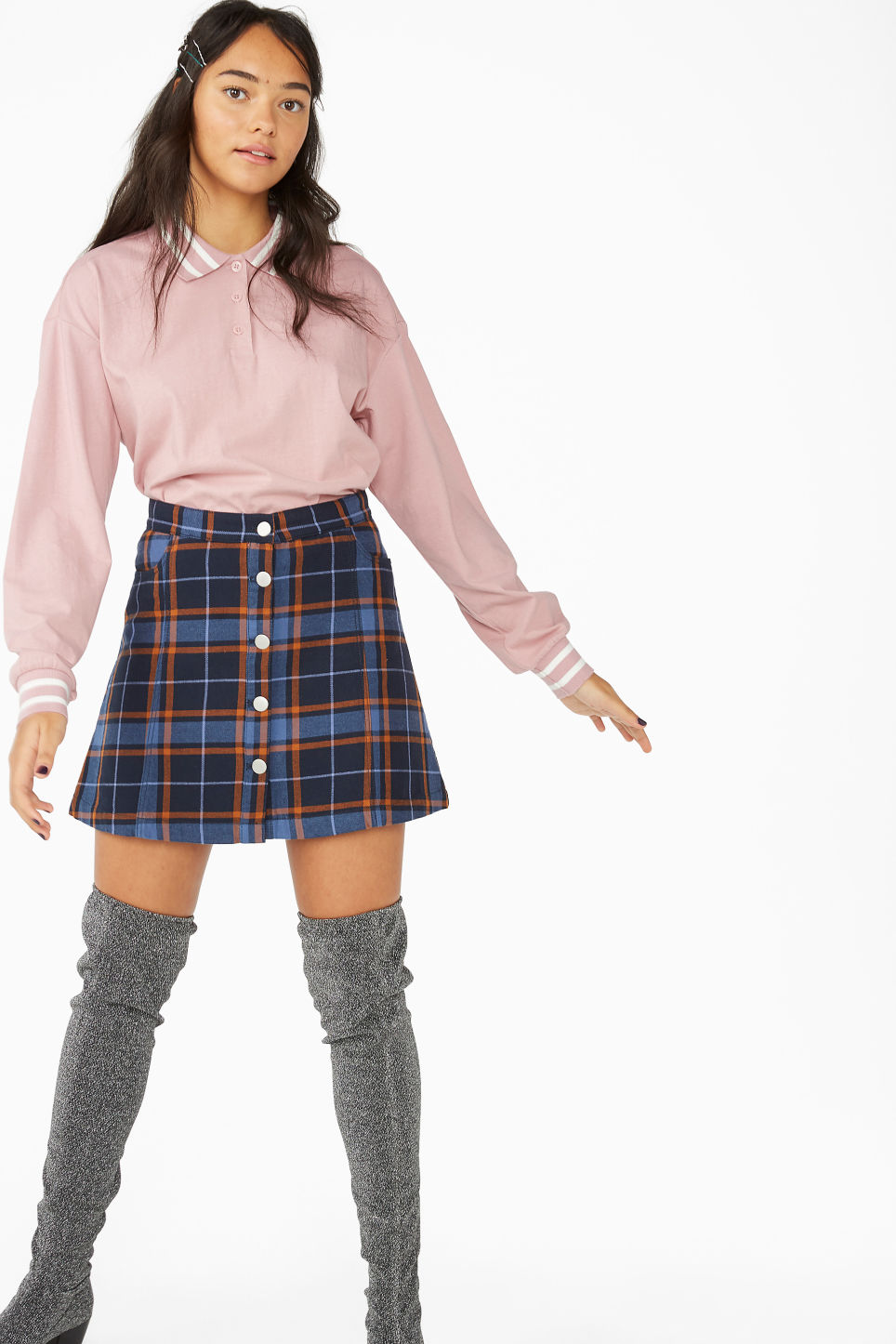 Model side image of Monki cropped polo in pink