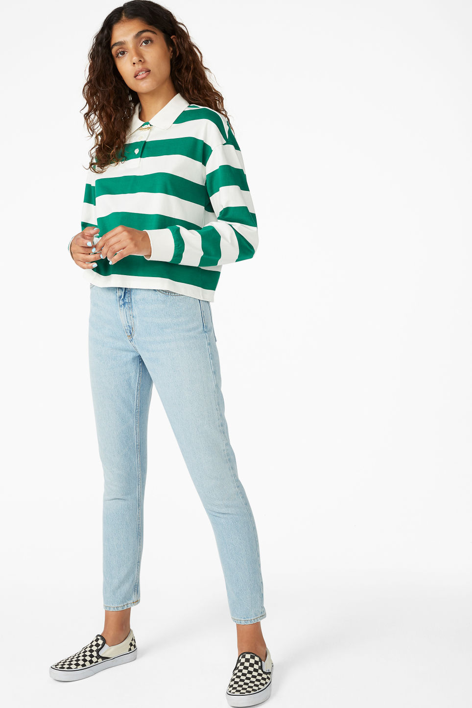 Model front image of Monki cropped polo in green