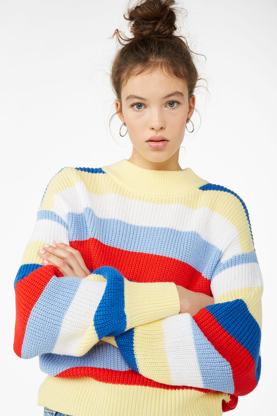 Model front image of Monki crew neck knit sweater in yellow