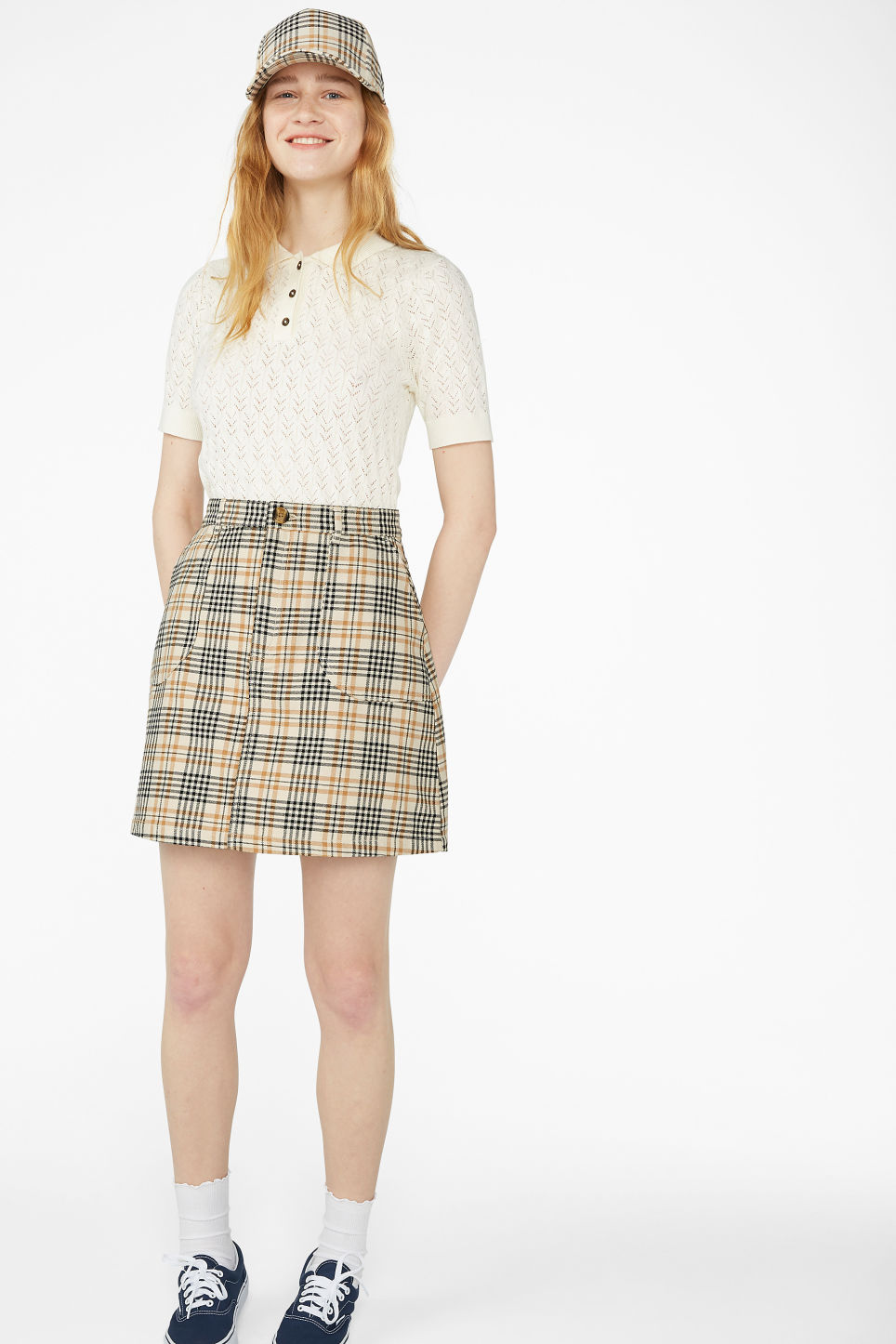 Model front image of Monki a-line mini skirt in beige