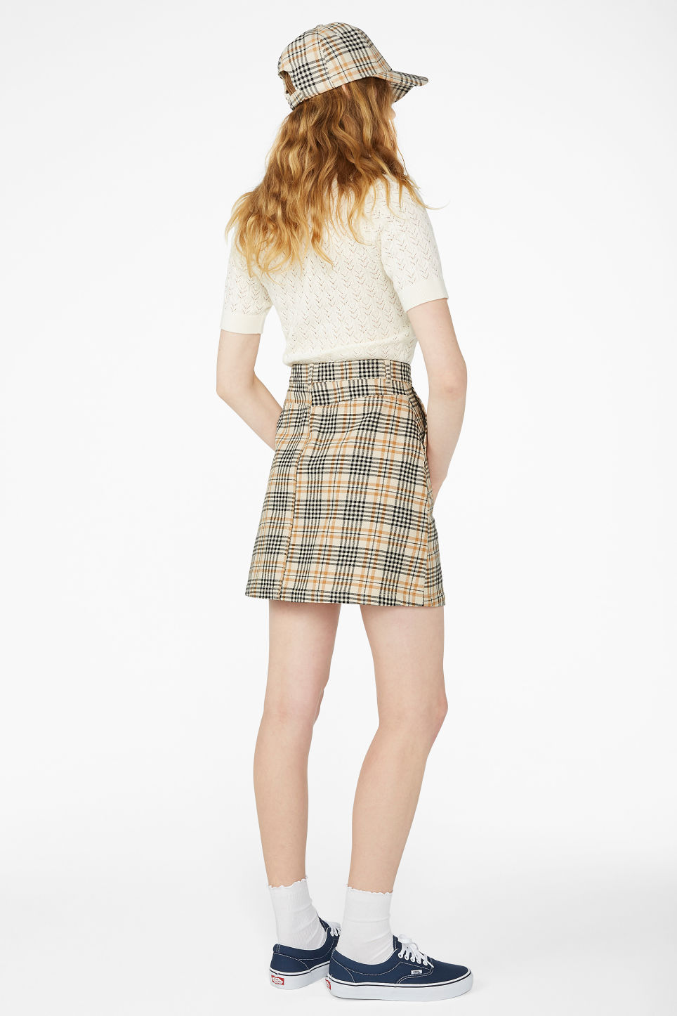 Model back image of Monki a-line mini skirt in beige