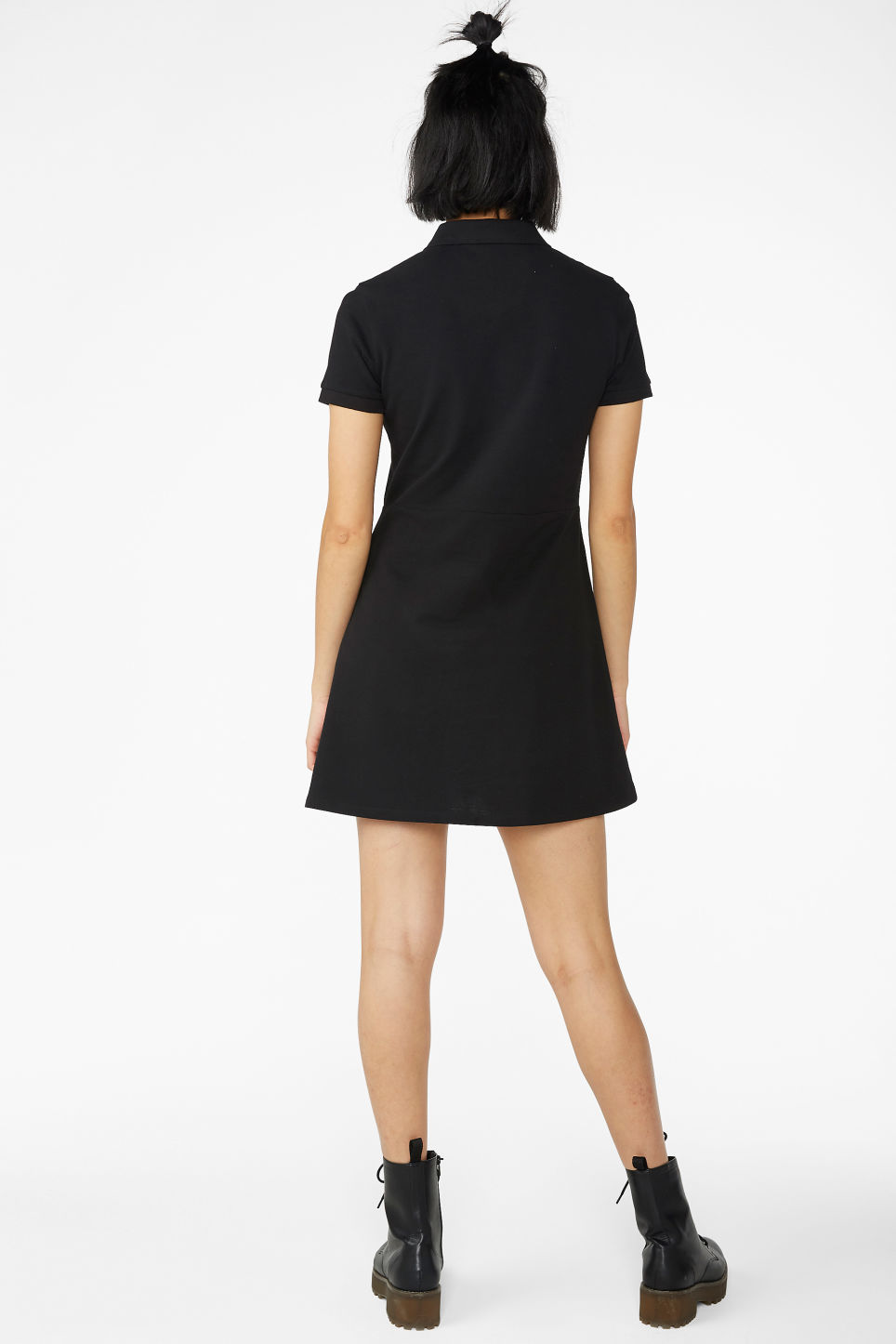 Model back image of Monki pique polo dress in black