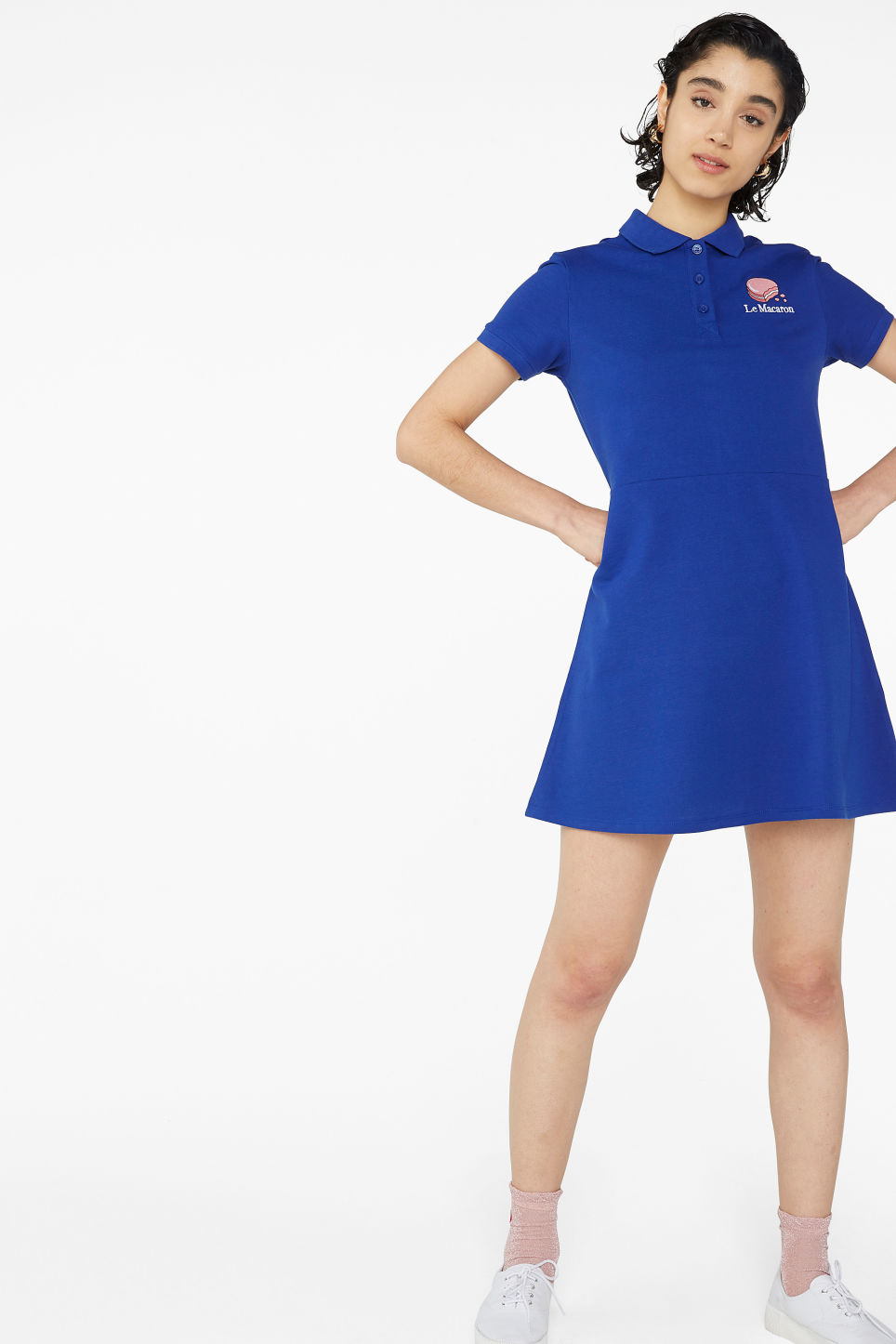 Model front image of Monki pique polo dress in blue