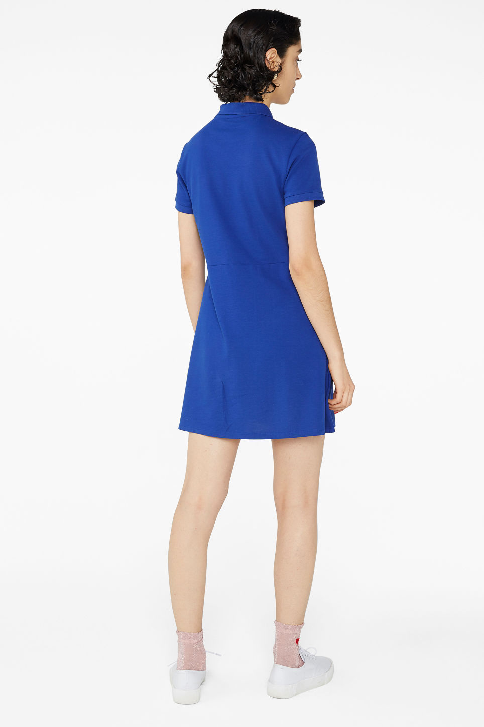 Model back image of Monki pique polo dress in blue