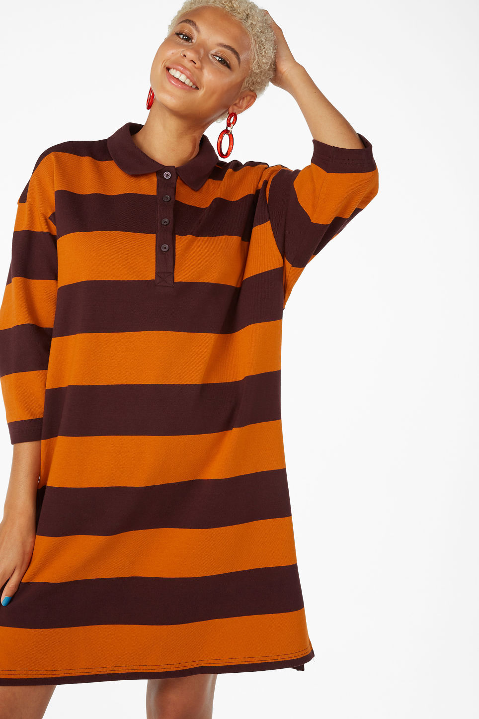 Model front image of Monki long-sleeved polo dress in orange