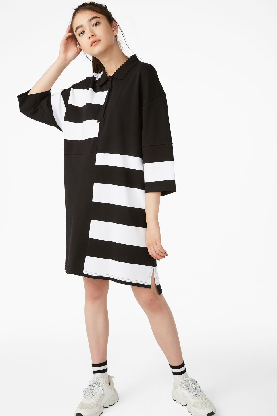 Model front image of Monki long-sleeved polo dress in black