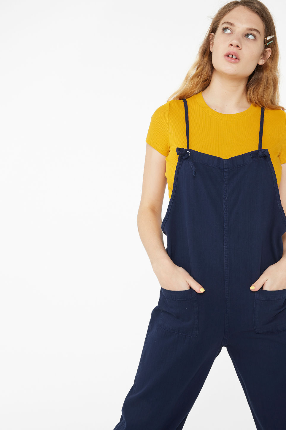 Model front image of Monki cotton dungarees in blue