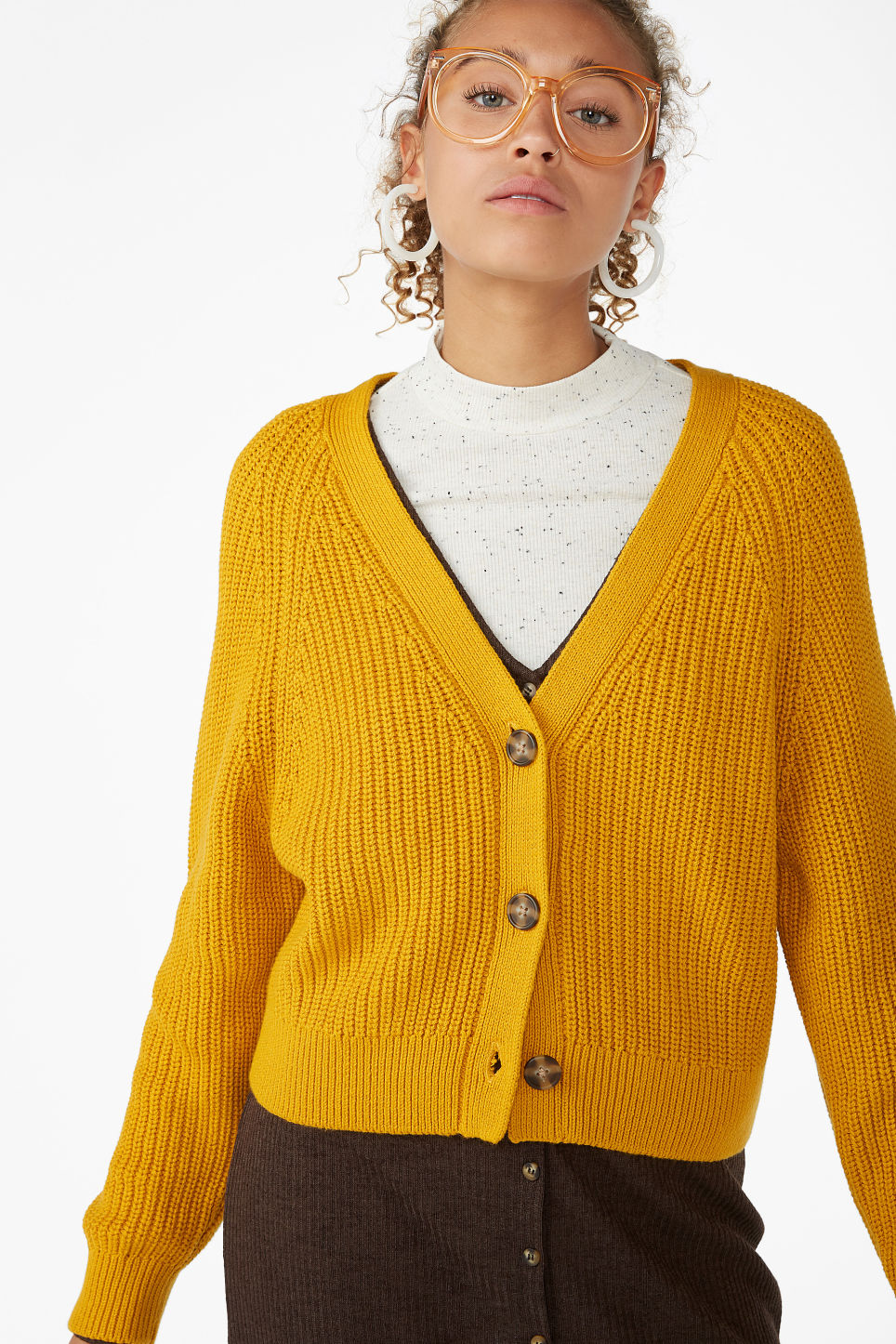 Model front image of Monki knitted jumper in yellow