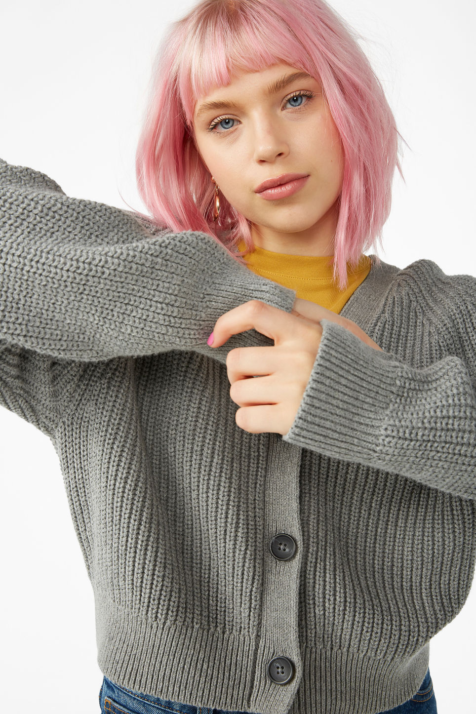 Model front image of Monki knitted jumper in grey