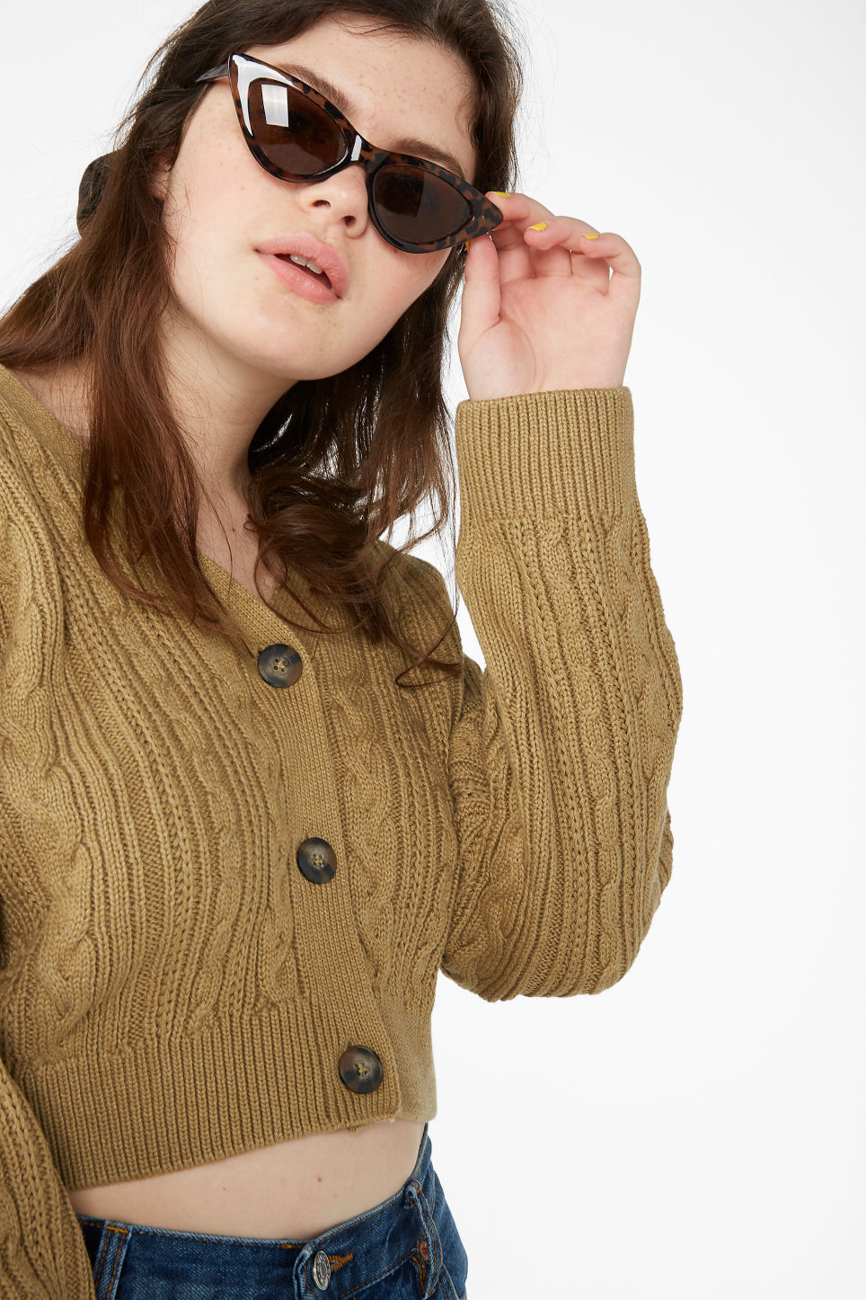 Model front image of Monki ribbed cardigan in yellow