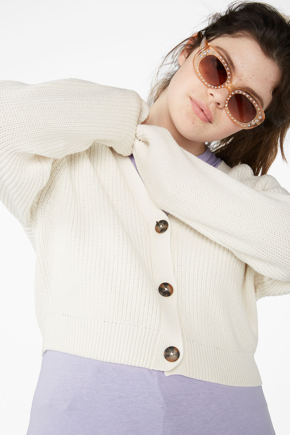 Model front image of Monki ribbed cardigan in white